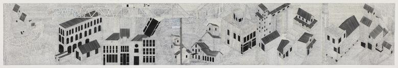 Written Minneapolis (The Last Tomb) (2014) Felt pen on mylar 36h x 222w in (91.44h x 563.88w cm)