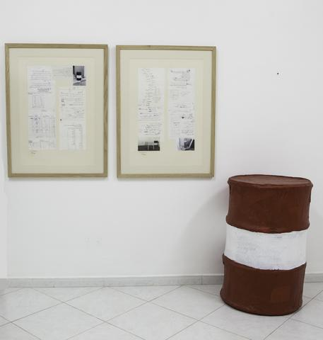 Barrels (1985) Mixed media installation (3 parts)