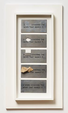 Luis Camnitzer; A...Covering the Word... (1973) Engraved aluminum with paper 3h x 5.75w in each (7.62h x 14.61w cm each)