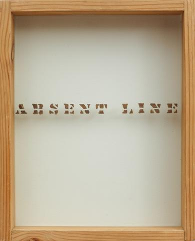 Luis Camnitzer, Absent-line (1971-1975) Woodcut letters, glass and wood 12.1h x 9.9w x 1.9d in (30.7h x 25.1w x 4.8d cm)