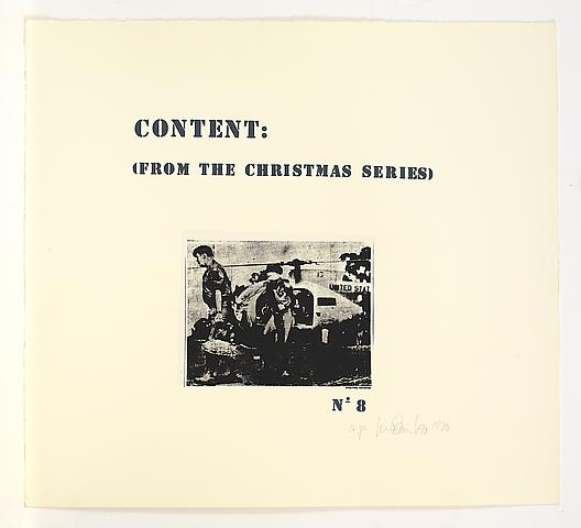 Content (From the Christmas Series) (1970/1971) Silkscreen on paper in 8 parts  25.25h x 27.75w in (64.14h x 70.49w cm); Edition of 5 with 1 AP