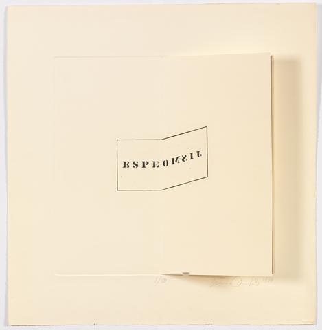 Luis Camnitzer Espejismo, 1970 Etching on paper, 25h x 25w in (63.5h x 63.5w cm)