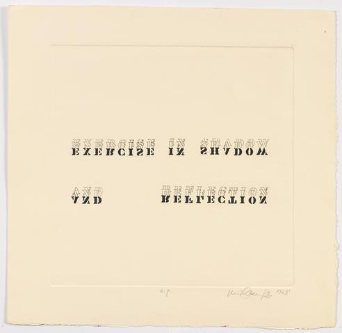 Exercise in Shadow and Reflection, 1968 Etching on paper 23.25h x 24w in (59.06h x 60.96w cm) Known edition of 2 (Ed. 2/2; marked AP)