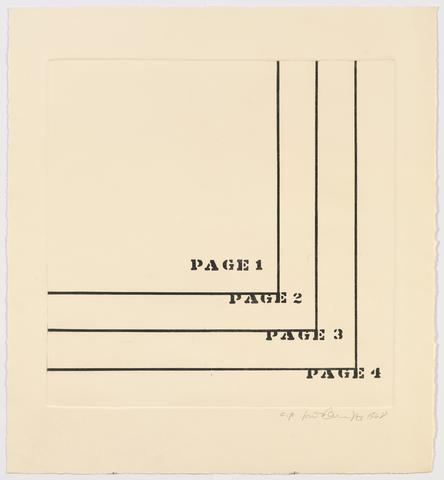 Four Pages, 1968 Etching on paper 24h x 22w in (60.96h x 55.88w cm) Known edition of 1 with 2 AP (AP 1/2; marked AP)