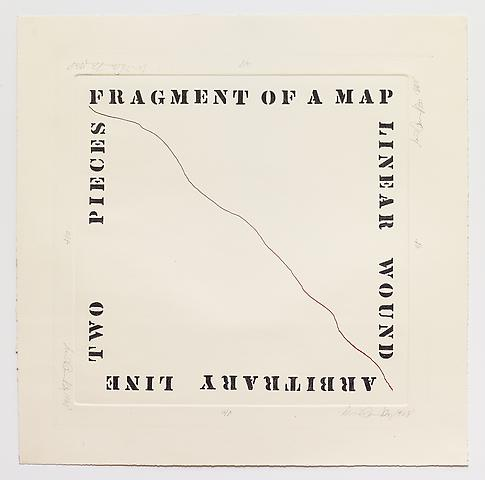 Luis Camnitzer; Fragment of a Map (1968) Etching; 23.83h x 23.5w in (60.5h x 59.7w cm) Edition of 10 with 1 AP
