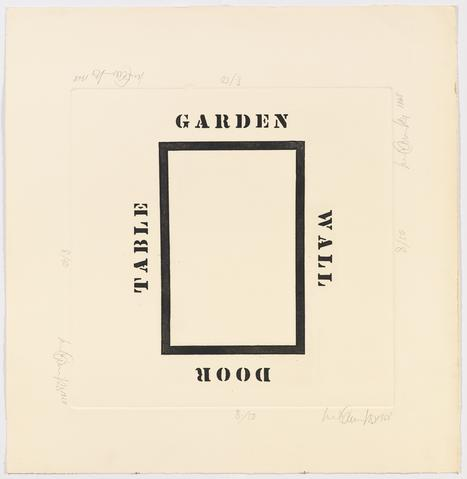 Garden Wall Door Table, 1968 Etching on paper 25h x 24w in (63.5h x 60.96w cm) Known edition of 4 with 2 AP (Ed. 2/4; marked 2/50)