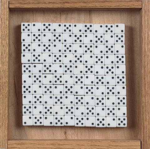 Improbability 2-5 (2017) Mixed media 9h x 9w x 1.5d in (22.9h x 22.9w x 3.8d cm)
