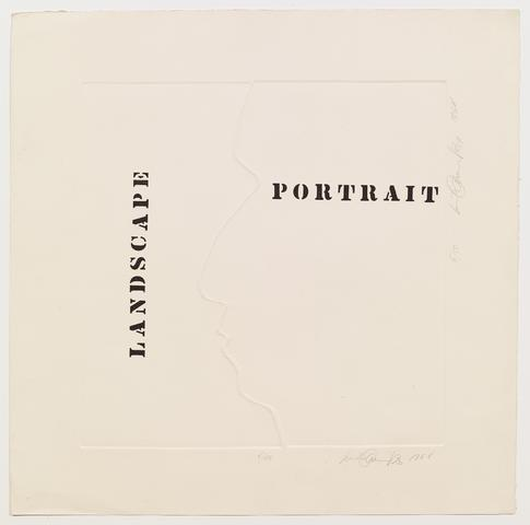 Luis Camnitzer, Landscape Portrait (1968) Etching on paper 24.6h x 24.9w in (62.5h x 63.2w cm)