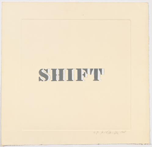 Shift, 1968 Etching on paper 25.75h x 25w in (65.41h x 63.5w cm) Known edition of 5 with 1 AP (Ed. 1/5; marked 1/50)