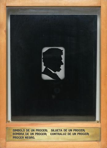 Luis Camnitzer Simbolo de un procer; silueta de un procer; sombra de un procer; contraluz de un procer; procer negro., 1973-1974 Engraved brass plaque, laminated photograph, glass, and wood 13.5h x 9.81w x 2d in (34.29h x 24.92w x 5.08d cm)