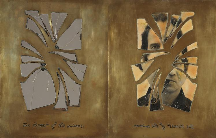 The Threat of the Mirror (1978) 2 Brass plates, photograph, mirror 10h x 8w in (25.4h x 20.32w cm)