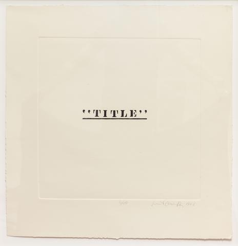 Title, 1968 Etching on paper 25.5h x 24.75w in (64.77h x 62.87w cm) Known edition of 2 (Ed. 2/2; marked 4/50)
