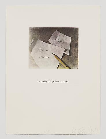 He Worked with Forbidden Symbols (1983-84) Photo etching in 35 parts; 29.53h x 21.65w in (75.01h x 54.99w cm) Edition of 15 with 1 AP
