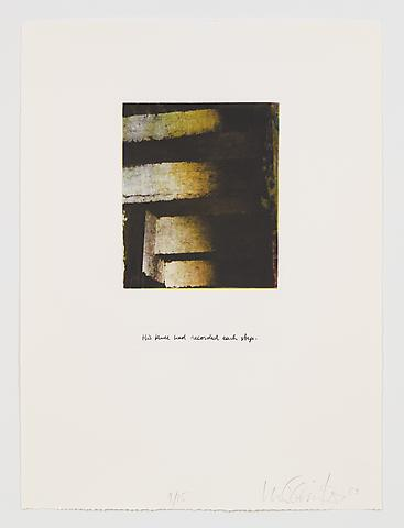 His Knee Recorded Each Step (1983-84) Photo etching in 35 parts; 29.53h x 21.65w in (75.01h x 54.99w cm) Edition of 15 with 1 AP