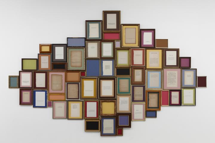 "Disclaimer II (2010) 58 vintage ""Disclaimer"" book pages and vintage frames 70h x 112w x 1.5 in (179h x 284.5w x 3.8d cm)"