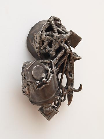 "Djeri Djeff Papa Tall (2008) From the series Lynch Fragments Welded steel 11.5"" x 11.5"" x 5"""