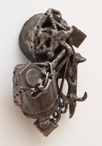 Djeri Djeff Papa Tall (2008)<br>Welded steel<br>11.5h x 11.5w x 5d in (29.21h x 29.21w x 12.7d cm)