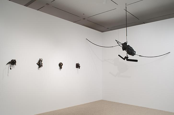 Melvin Edwards; Now Dig This! Art and Black Los Angeles 1960-1980 (2011) Right: Cotton Hangup; Left: Four Lynch Fragments; Installation view; The Hammer Museum