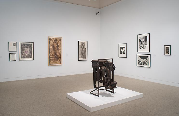 Melvin Edwards; Now Dig This! Art and Black Los Angeles 1960-1980 (2011) Foreground: August the Squared Fire (1965); Installation view; The Hammer Museum