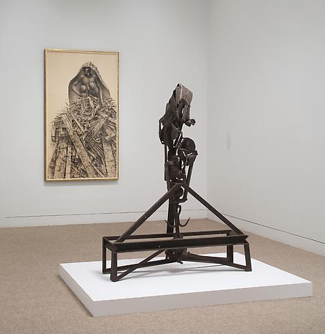 Melvin Edwards; Now Dig This! Art and Black Los Angeles 1960-1980 (2011) Foreground: Lifted X (1965); Installation view; The Hammer Museum