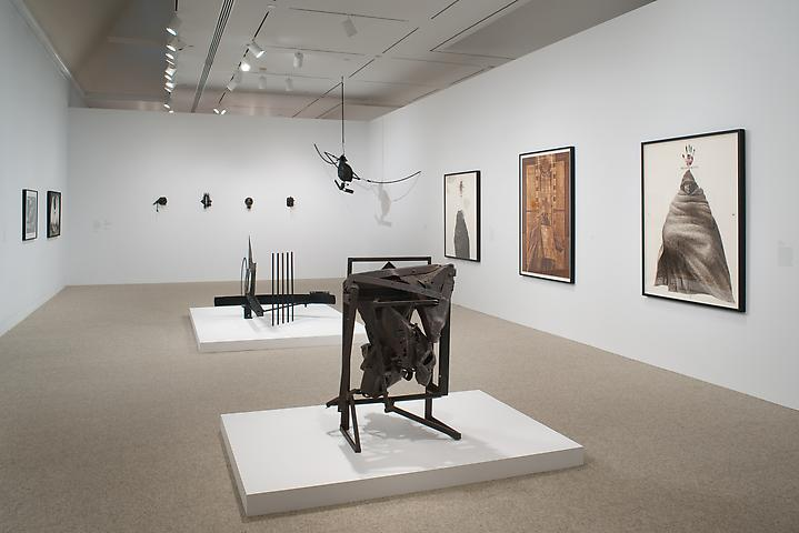 Melvin Edwards; Now Dig This! Art and Black Los Angeles 1960-1980 (2011) Foreground: August the Squared Fire; Background Center: The Fourth Circle; Background Left: Four Lynch Fragments; Background Right: Cotton Hangup Installation view; The Hammer Museum