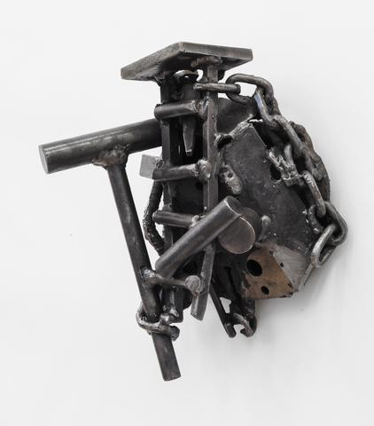 Ile Ogun (2003)<br>Welded steel<br>12.5h x 10w x 7.5d in (31.75h x 25.4w x 19.05d cm)
