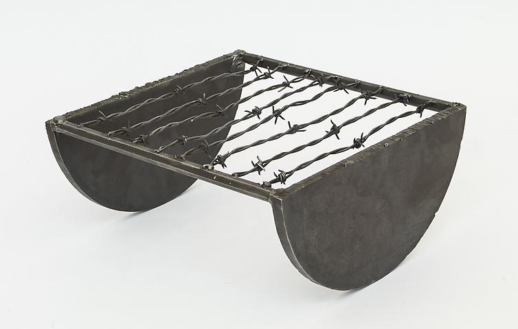 Level (1973) Welded steel and barbed wire 12.75h x 13.63w x 6d in (32.39h x 34.62w x 15.24d cm)