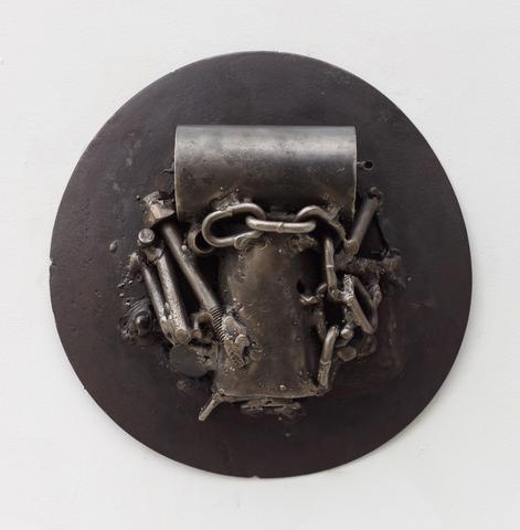 Homage to Amílcar Cabral (2016) Welded steel 11.75h x 11.5w x 3.25d in (29.8h x 29.2w x 8.3d cm)