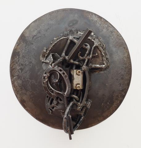 MMOZ (2005)<br>Welded steel<br>17h x 17w x 9d in (43.18h x 43.18w x 22.86d cm)
