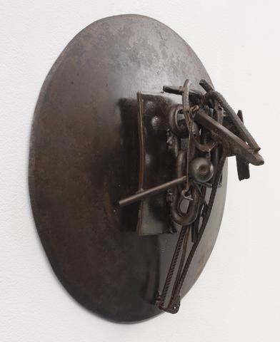 MZ A Mbaye (2006)<br>Welded steel<br>18h x 18w x 9d in (45.72h x 45.72w x 22.86d cm)
