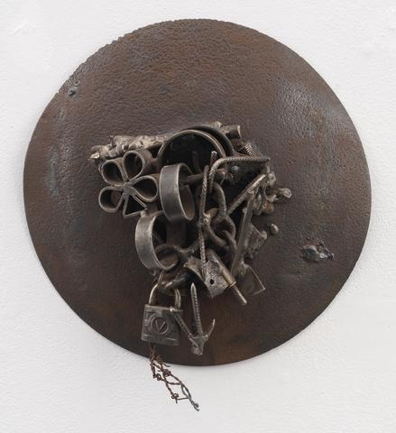 Rouie Rufisque (2005-12)<br>Welded steel<br>16 h x 13.25w x 6.5d (40.64h x 33.66w x 16.51d cm)