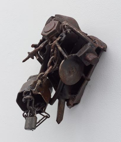 Route des esclave (1995—99)<br>Welded steel<br>13.25h x 11w x 7.38d in (33.66h x 27.94w x 18.75d cm)