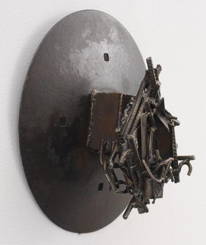 Sopijiko (2014)<br>Welded steel<br>15.75h x 15.75w x 6.75d in (40.01h x 40.01w x 17.15d cm)