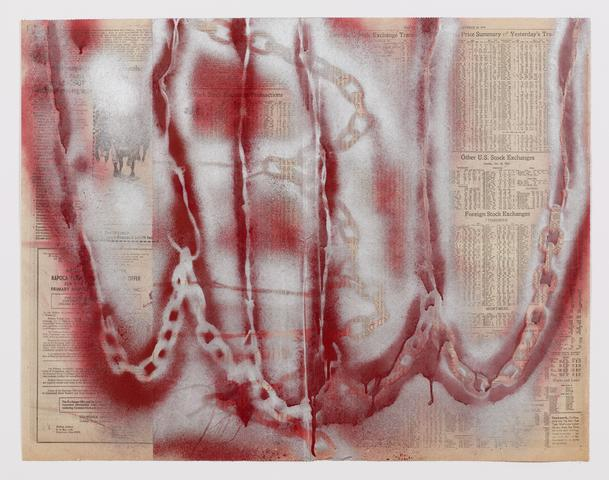 Untitled (Spray paint drawing) (1974) Spray paint on newsprint (5 parts) 22.5h x 29.13w in (57.2h x 74w cm)