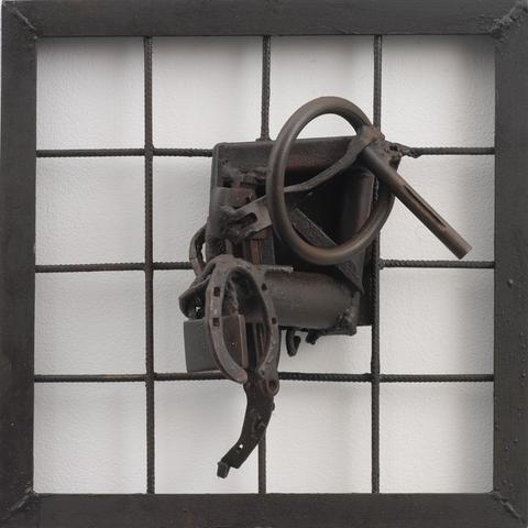 Untitled (2004)<br>Welded steel<br>19.75h x 19.75w x 8.38d in (50.17h x 50.17w x 21.29d cm)