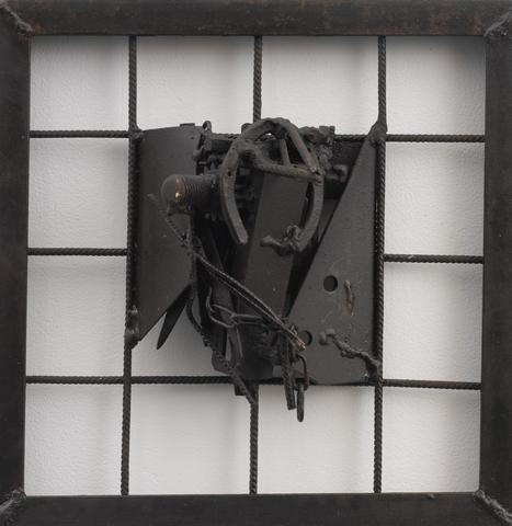 Untitled (2004)<br>Welded steel<br>20h x 19.75w x 6.25d in (50.8h x 50.17w x 15.88d cm)
