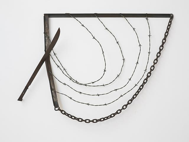 "Machete For Gregory (1974) Welded steel, chain, and barbed wire 31"" x 40"""