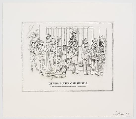 "The Undiscovered Amerindians; ""Oh Wow!"" Gushed Annie Sprinkle (2012) Intaglio, engraving, and drypoint etching on paper; 21h x 18.3w in (53.3h x 46.5w cm); Edition of 8 with 2 APs"