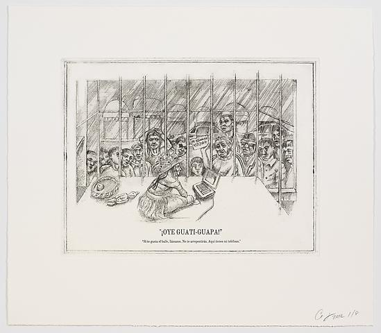 The Undiscovered Amerindians; ¡Oye Guati-Guapa! (2012) Intaglio, engraving, and drypoint etching on paper; 21h x 18.3w in (53.3h x 46.5w cm); Edition of 8 with 2 APs