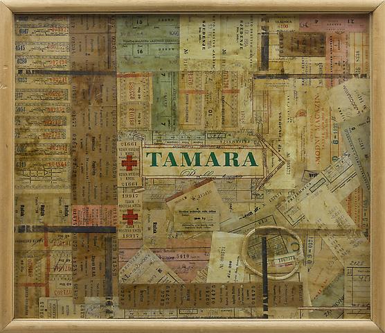 Tamara (1964) Mixed media collage 15.6h x 17.7w in (39.6h x 45w cm)