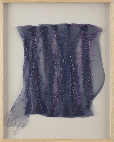 Sheila Hicks, <i>La Foret Bleue I</i> (2001) Synthetic plaiting, rayon, silk, raffia 14.13h x 14.25w in (35.9h x 36.2w cm)