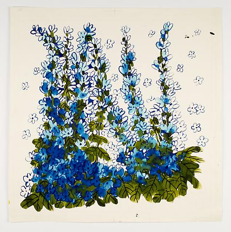 "Delphiniums, from the ""Florals"" series (c.1973) Watercolor on paper 24.3h x 24.3w in (61.7h x 61.7w cm)"