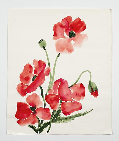 "Poppies, from the ""Florals"" series (c.1983) Watercolor on paper 19.3h x 16w in (49h x 40.6w cm)"