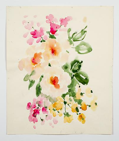 "Tea Roses, from the ""Florals"" series (c.1980) Watercolor on paper 17h x 14w in (43.2h x 35.6w cm)"