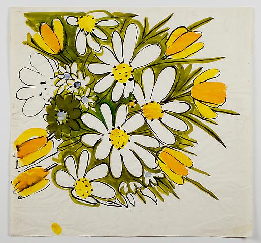"Tulips & Daisies, from the ""Florals"" series (c.1971) Watercolor on paper 26.5h x 27.5w in (67.3h x 69.9w cm)"