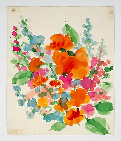 "Untitled, from the ""Florals"" series (c.1977) Watercolor on paper 18.1h x 15w in (46h x 38.1w cm)"