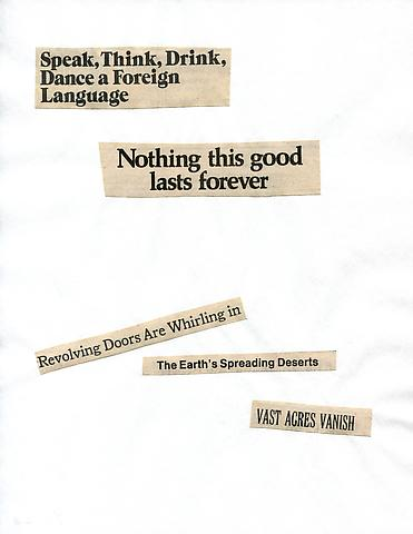 Cutting Out the New York Times, A Heroic Return (1977) Part 2 of 8, Toner ink on adhesive label paper 88.19h x 7.87w in (224h x 19.99w cm)