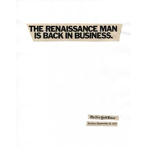Lorraine O'Grady; Cutting Out the New York Times, The Renaissance Man is Back in Business (1977/2010) Part 1 of 11, Toner ink on adhesive paper; 11.02h x 86.61w in (27.99h x 219.99w cm) Edition of 8 with 1 AP