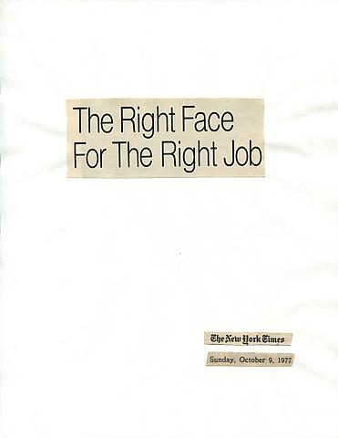Cutting Out The New York Times, The Right Face For The Right Job (1977) Part 1 of 6, Toner ink on adhesive paper 11.02h x 7.87w in (27.99h x 19.99w cm)