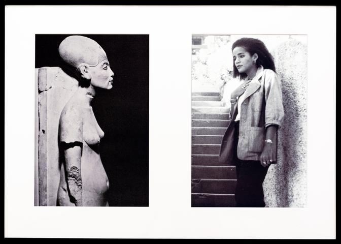Lorraine O'Grady Miscegenated Family Album (Cross Generational), L: Nefertiti, the last image; R: Devonia's youngest daughter, Kimberley, 1980/1994 Cibachrome prints, 26h x 37w in (66.04h x 93.98w cm) Edition of 8 with 1 AP (Ed. 1/8)